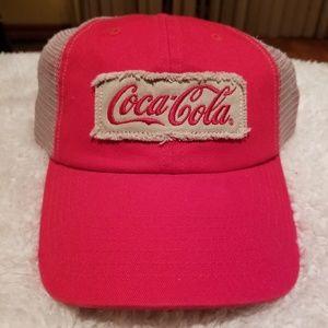 Other - Coca Cola Red /Tan Velcro Hat Mesh Trucker Cap
